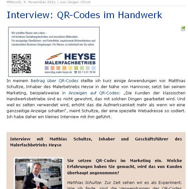 QR-Code im Handwerk - Maler HEYSE