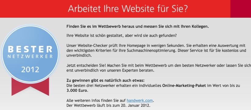 Wettbewerb Bester Netzwerker 2012