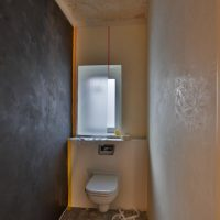WC, Herren WC, Chalix Decor Finitura Dekorspachtel auf Kalkbasis für dekorative Wandgestaltungen im Innenraum.