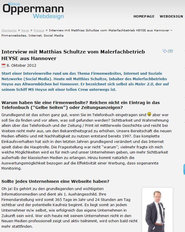 Interview von Klaus Oppermann mit Maler Heyse aus Hannover
