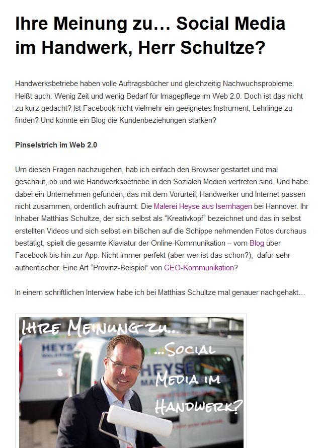 """Interview """"Ihre Meinung zu… Social Media im Handwerk, Herr Schultze?"""" am 07.12.2012 mit http://www.mein-maler.de"""