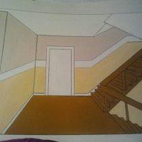 Malerarbeiten, ausgelegte Skizze einer Idee zur Gestaltung eines Eingangsbereichs