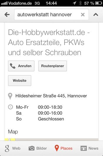 Google Suche mit dem Iphone 4S - Google Places
