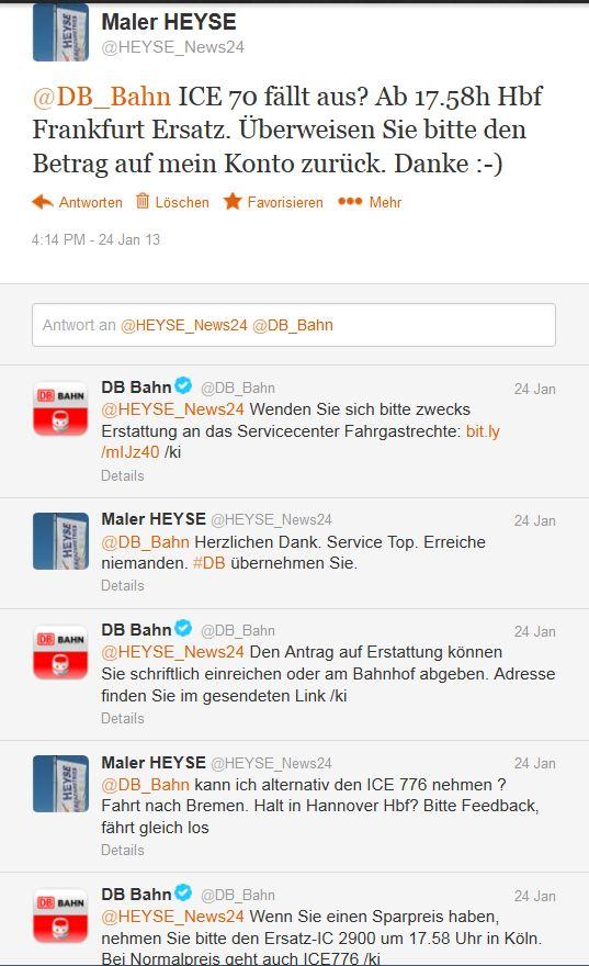 Deutsche Bahn Kundendialog via Twitter