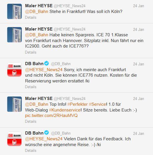 Twitter-Kanal der Deutsche Bahn Kundendialog