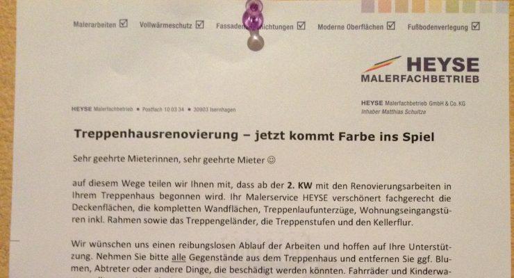 Social Media - Online trifft offline @ Maler Hannover Heyse Malerarbeiten Treppenhaus