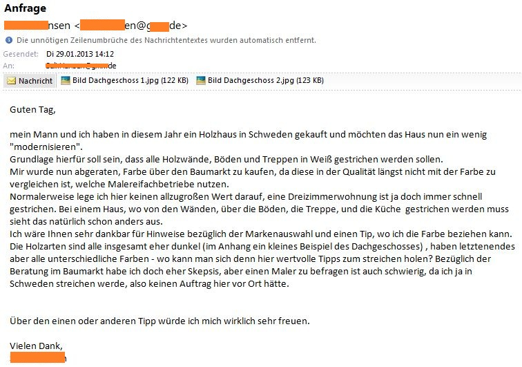 Anfrage per Mail