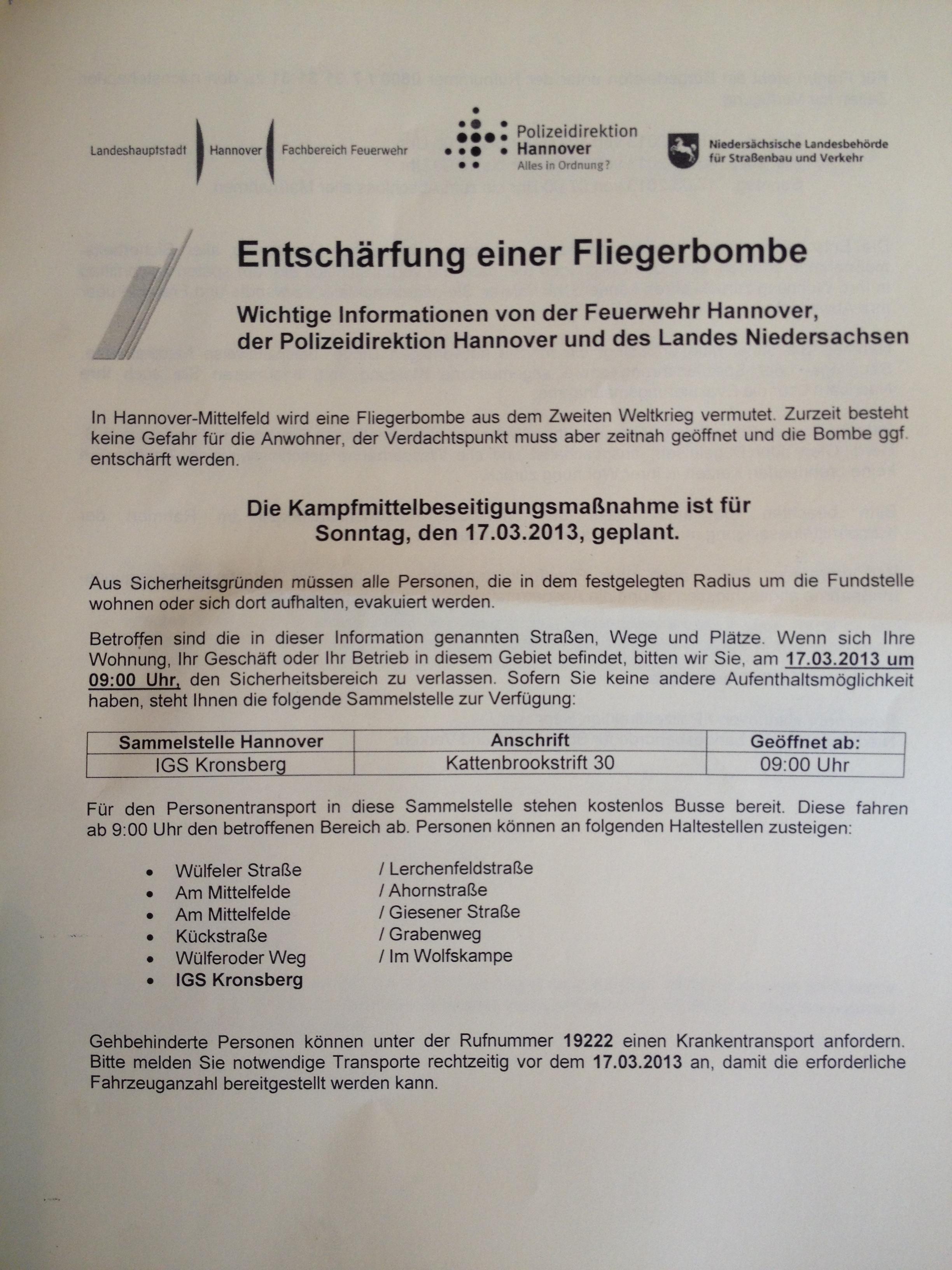 Hannover: Fliegerbombe in Mittelfeld wird am 17. März entschärft