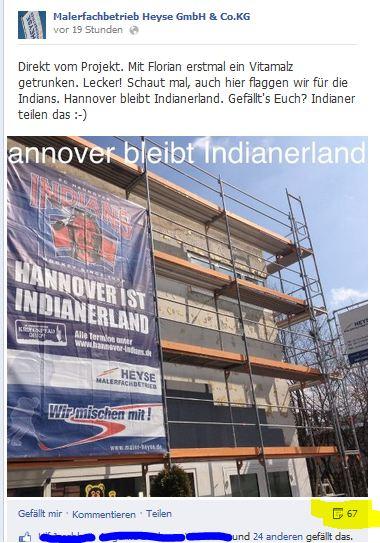 Hannover Indians, Maler Heyse Hannover unterstützt