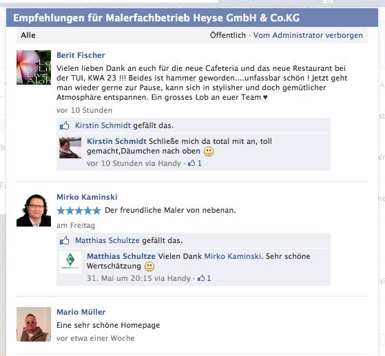 Empfehlungen - Facebook Fanpage