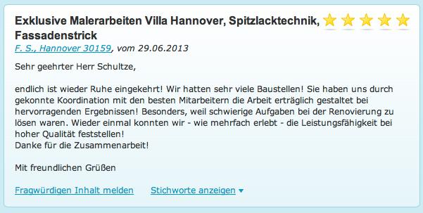 Empfehlung Referenz Malerarbeiten Hannover