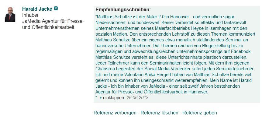 Referenz für Matthias Schultze Social Media Manager