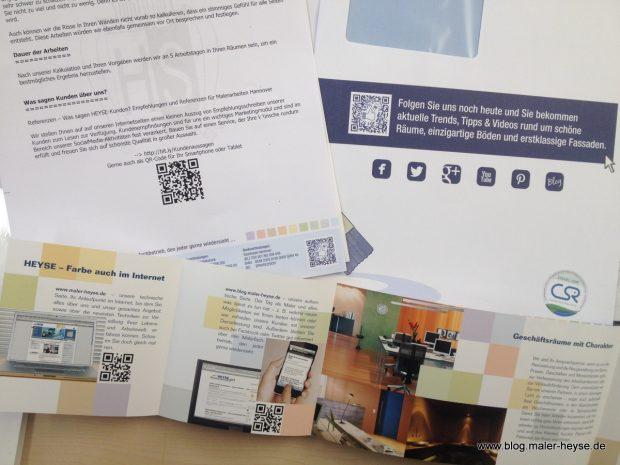 QR-Code auf Printsachen maler Heyse