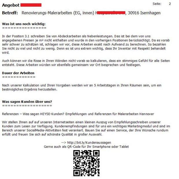 QR-Code im Kundenanschreiben integriert, aufklären