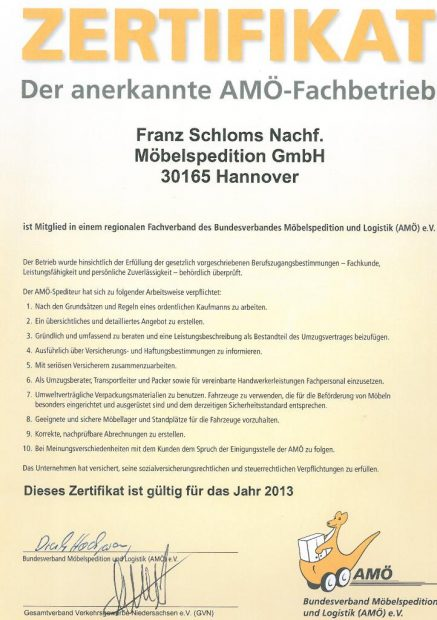 Amö Zertifikat Fa. Schloms Hannover