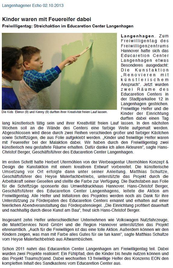 CSR-Educaretion Freiwilligentag Hannover 2013