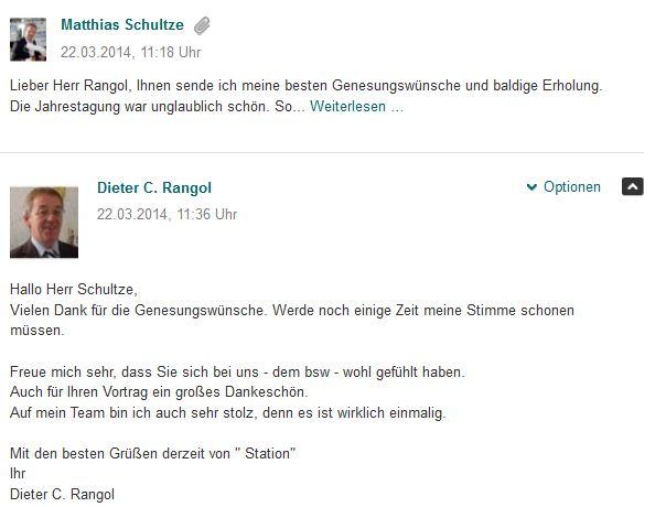 Genesungswünsche von MAtthias Schultze an den Geschätsführer des bsw Dieter C. Rangol