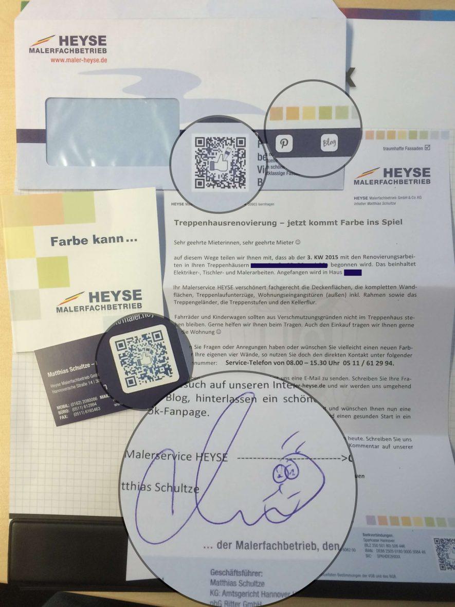 Info Maler Heyse Aushang Visitenkarte Flyer Meinmaler