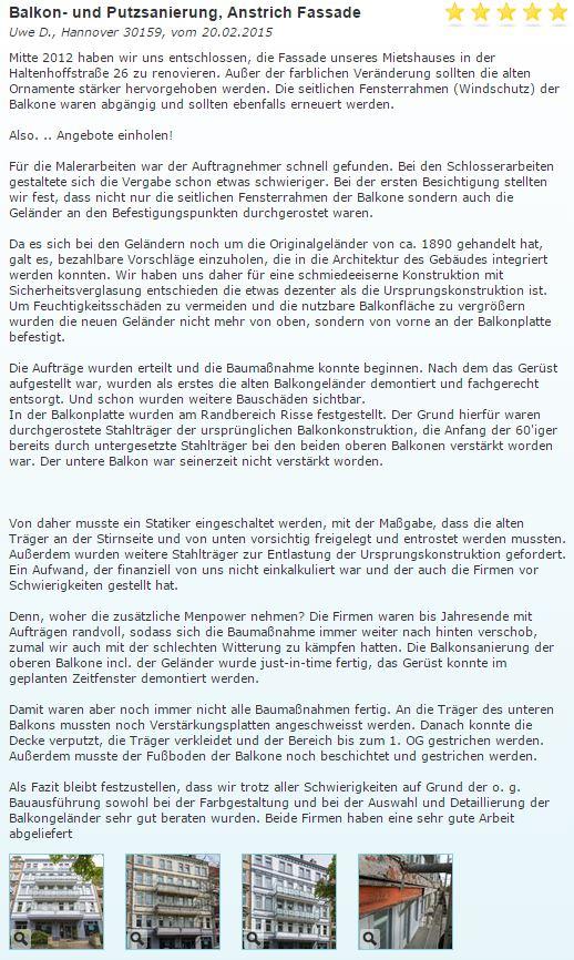 Fassade in Hannover saniert - Kundenreferenz (zum Lesen anklicken)