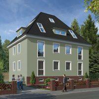 Altbau - Fassade in einem Grün-Grau