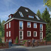 Altbau-Fassade in einem Ochsenblut-Rot
