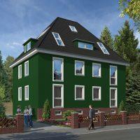 Altbau - Fassade in einem kräftigen Grün - Grüne Fassaden ?