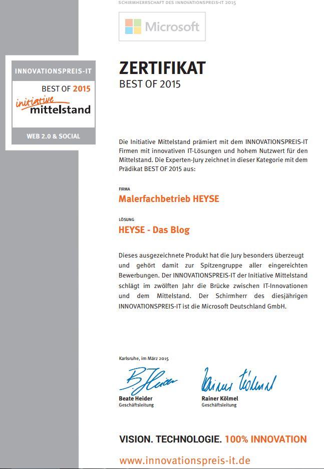 HEYSE - Das Blog ist ausgezeichnet!!  Initiative Mittelstand sagt, dass es zur Spitzengruppe gehört!