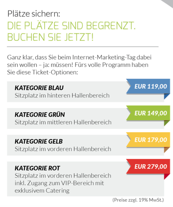 Ticketpreise 1. Internetmarketing Tag für´s Handwerk