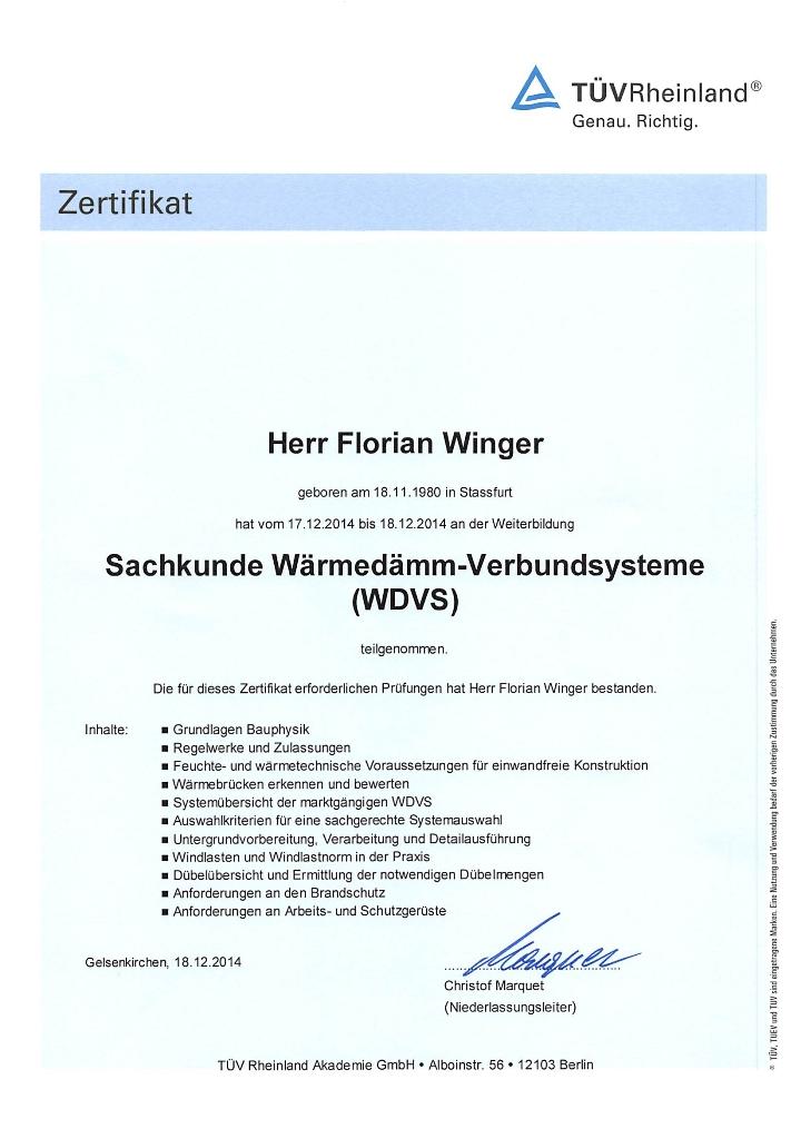 TÜV Zertifikat Wärmedämmung Hannover