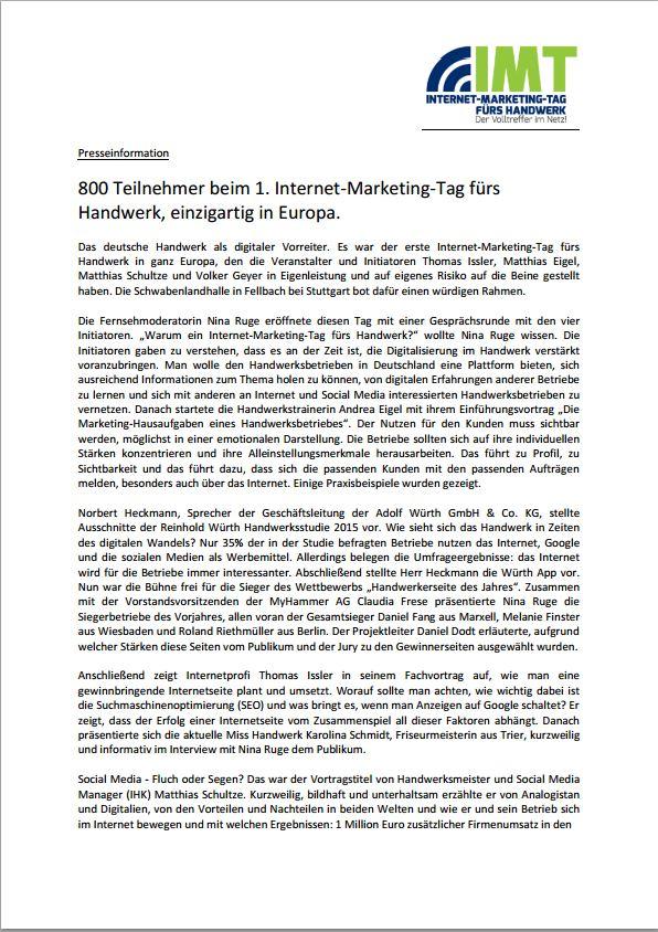 PR Nachbericht IMT-Handwerk 2015