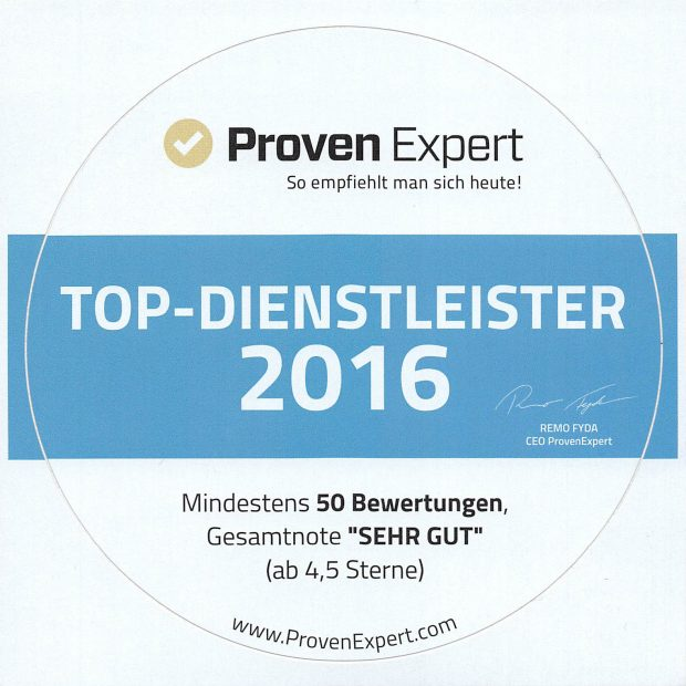 ProvenExpert Aufkleber Top Dienstleister 2016