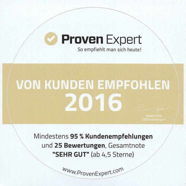 ProvenExpert Aufkleber vom Kunden empfohlen