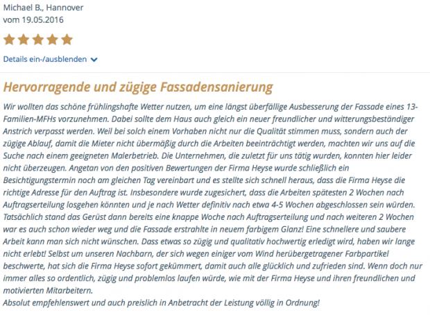 Michael B., Hannover - Glücklicher Heyse-Kunde