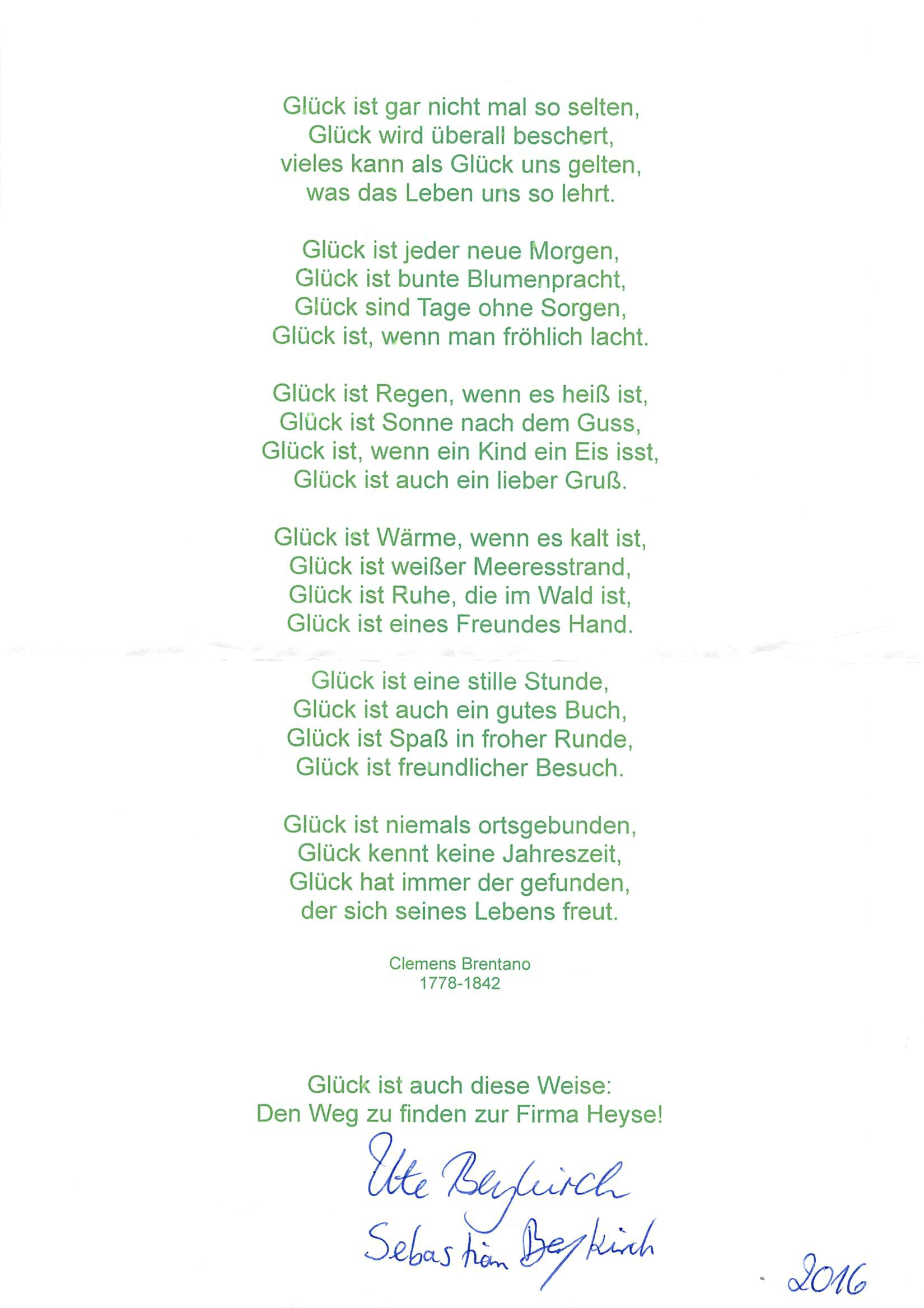 Über glück gedichte das Glück Marienkäfer