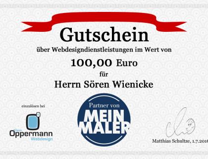 Gutschein für Malermeister Sören Wienicke - Social Media im Handwerk