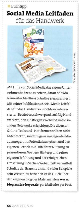 Social Media Leitfaden (nicht nur) für das Handwerk ist der Buchtipp in der Fachpresse