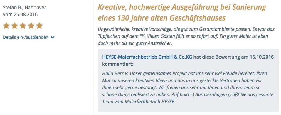 Referenzschreiben Rostdesign und Betonoptik für die Ausstellung von Office 360 in Hannover