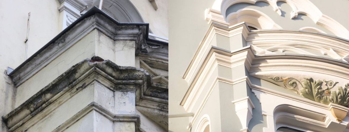 Vorher - Nachher - Stucksanierung Stilfassade