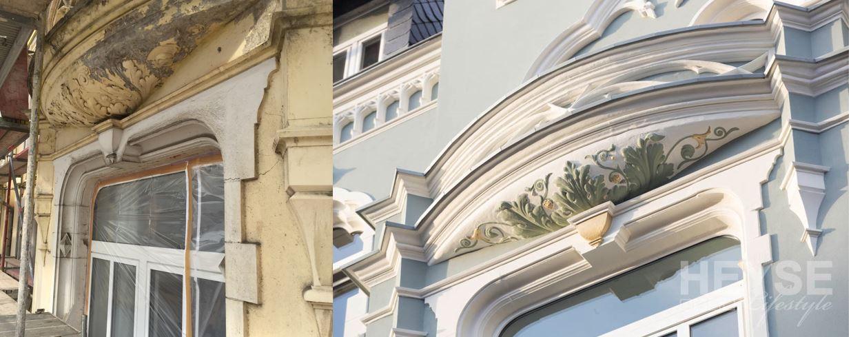 Vorher und Nachher - Bilder der Fassade