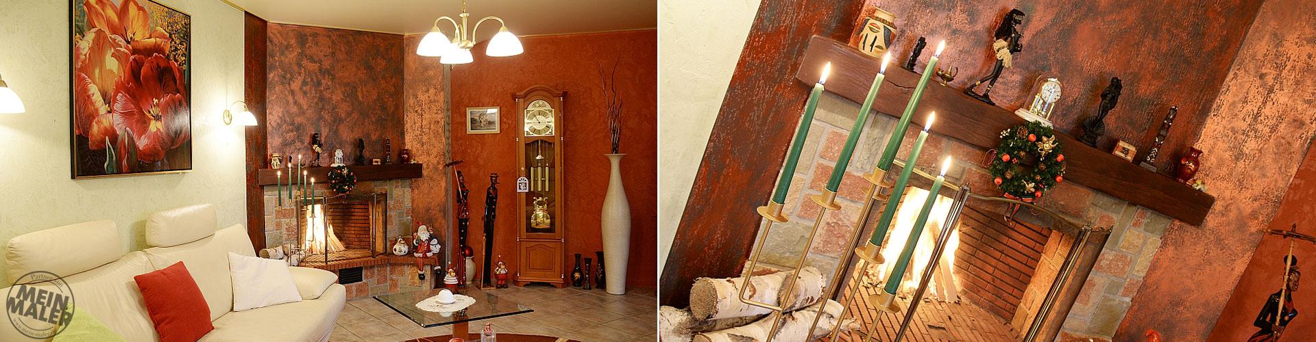 Kamin-Gestaltung / Kreatives-Design / Kupfer-Gruenspanpatina