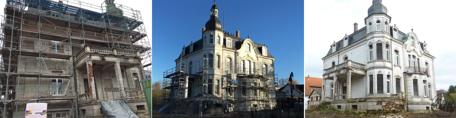 Sachs Raumwerkstatt / Restaurierung / Villa Raab / Fassadensanierung / Sandstrahlarbeiten / Denkmalpflege / Alsfeld / Fulda / Gießen