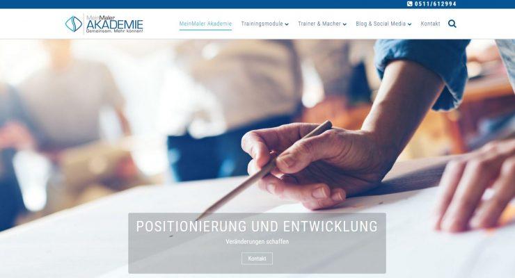 Screenshot der Webseite Mein-Maler-Akademie