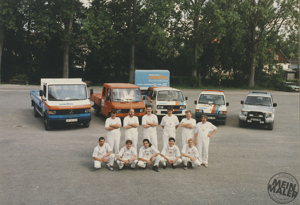 1980er Jahre: Teamfoto desTraditionsmalerbetriebs Sachs