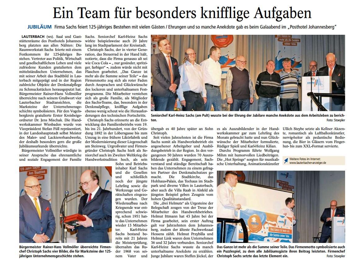 Artikel im Lauterbacher Anzeiger
