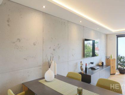 Wohnzimmerwand in Betonoptik mit Schalungsfugen