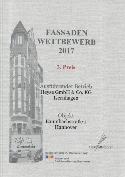 Fassadenwettbewerb 2017 Hannover Malerarbeiten Fassade HEYSE