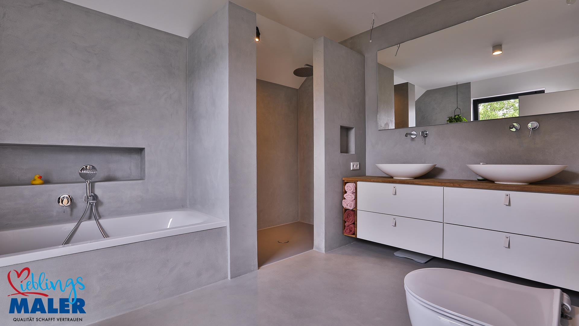 Ein neues Bad – Wände, Boden und Dusche fugenlos in Betonoptik ...